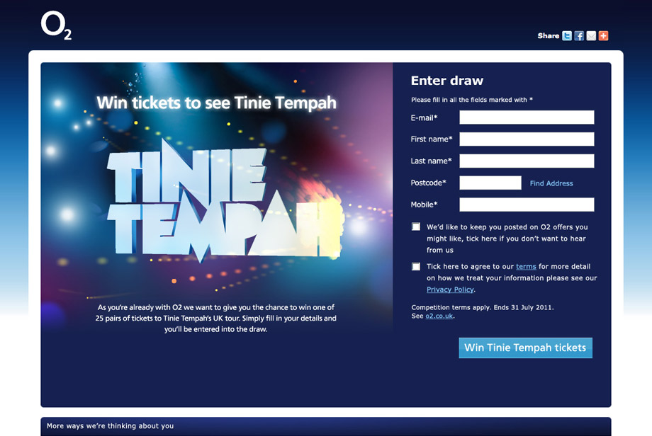 O2 free sim site with the Tinnie Tempah promotion, 2011