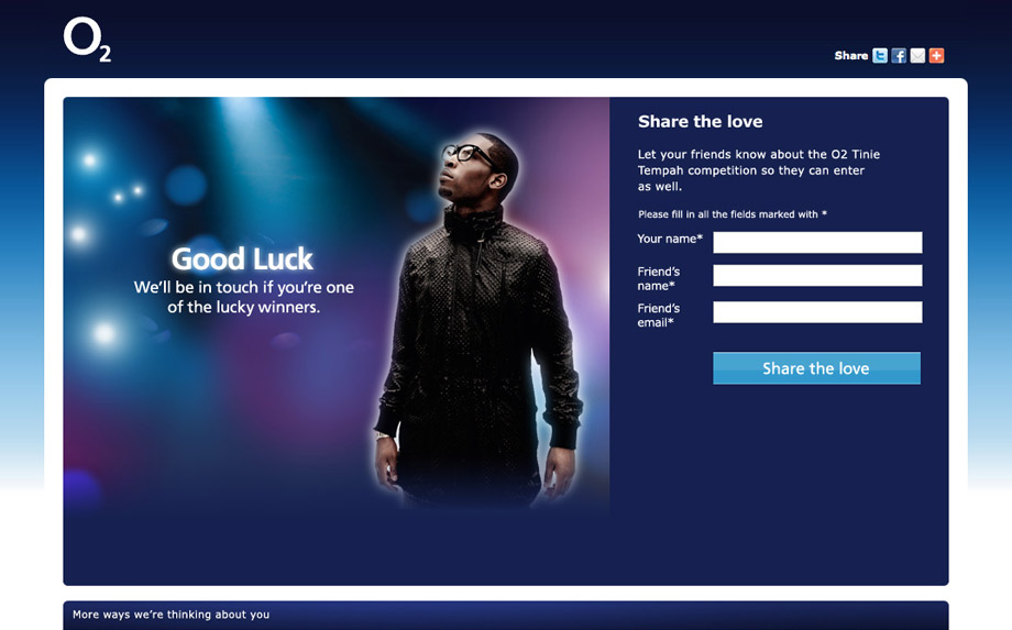 O2 free sim Tinnie Tempah promotion thank you page, with bokeh lights