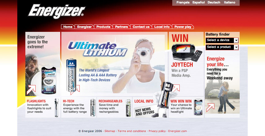 The Energizer Europe homepage 2005!