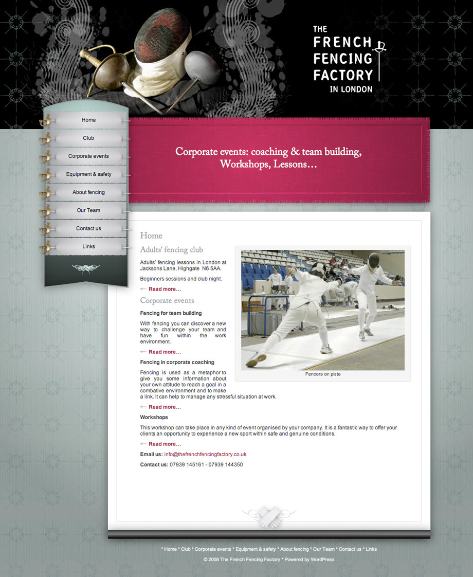The French Fencing Factory homepage