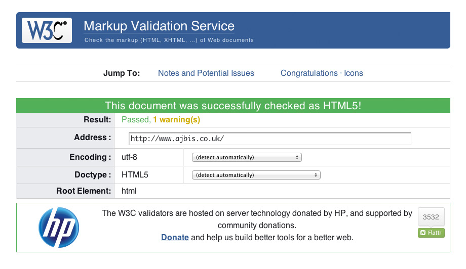 W3C Markup Validation Service, ajbis.co.uk has passed!