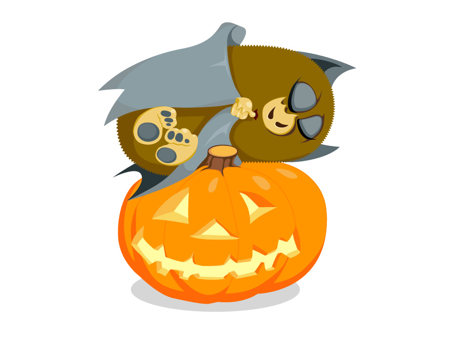 Happy Halloween, a cute little bat asleep on a pumpkin ;-)