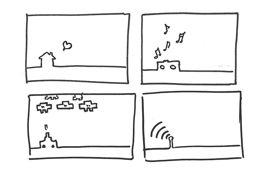 Home, music, games and WiFi line drawings
