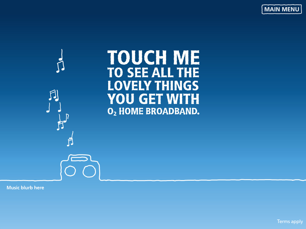 O2 Home Broadband Start screen with boombox