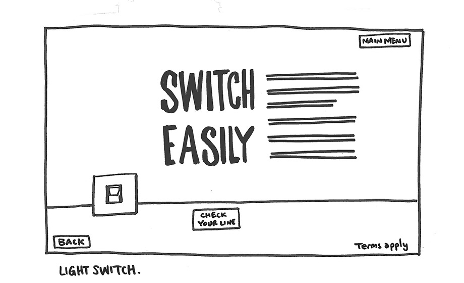 Switch Easily scamp with light switch line drawing