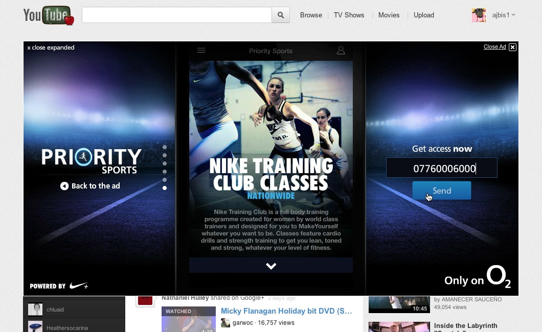 O2 Priority Sports YouTube Masthead