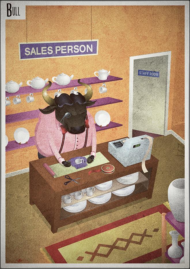 Bull Salesperson poster