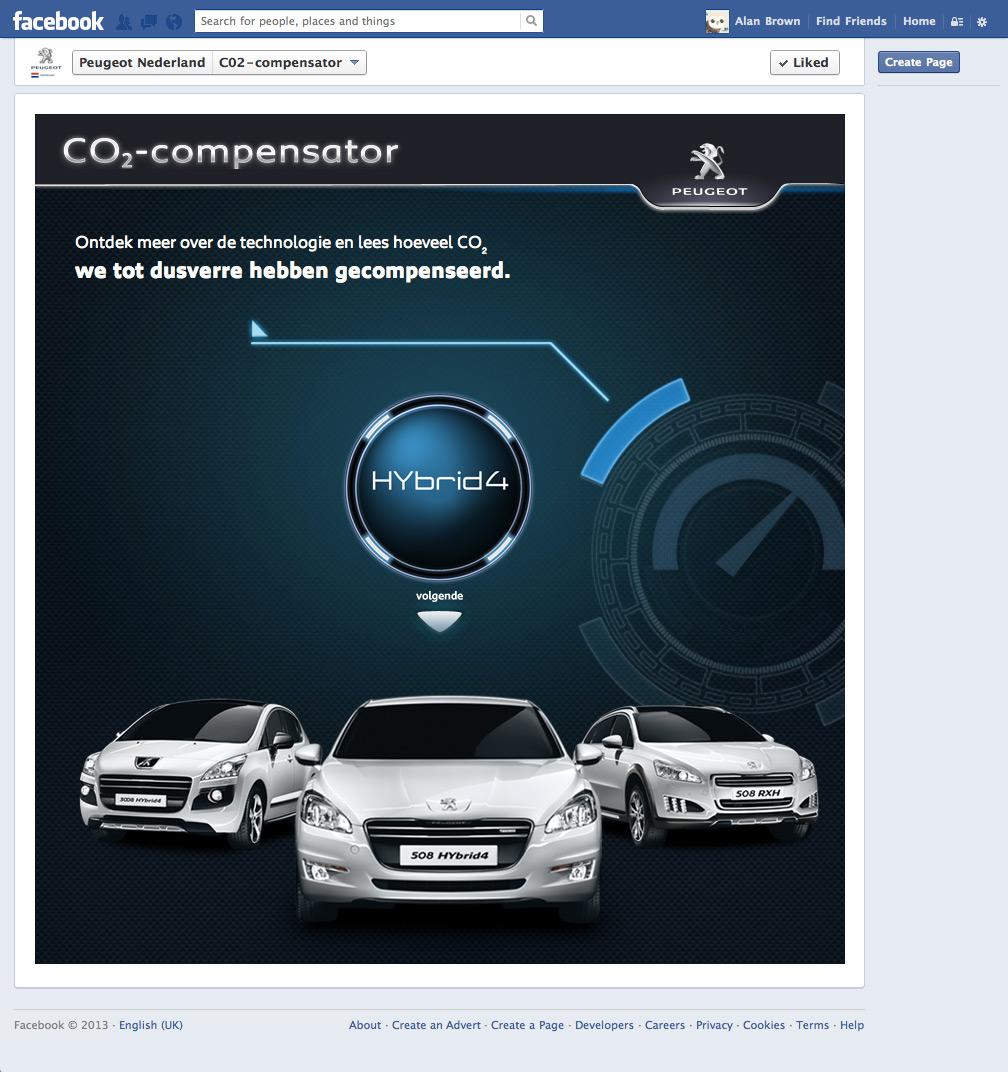 Peugoet Nederlands CO2-Compensator Page