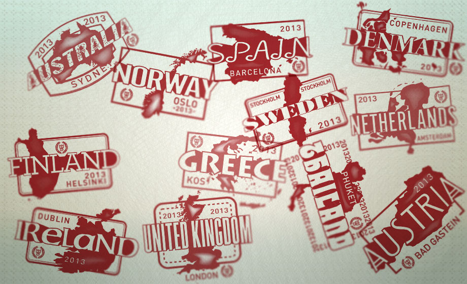 A collection of European Bartender School stamps.