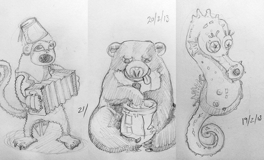 Final three sketches - monkey playing accordion, honey bear with… well honey & a little seahorse