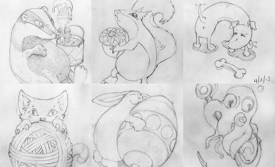 A badger with paint brush (go figure?), squirrel, dog & bone, kitten, bunny with giant Easter egg, octopus on an anchor!