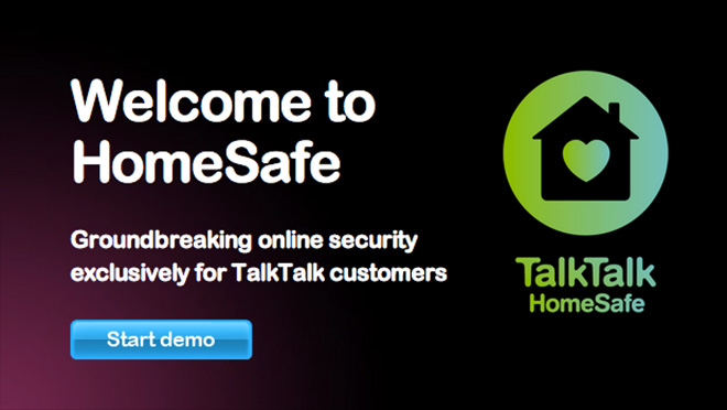 Homesafe demo start screen