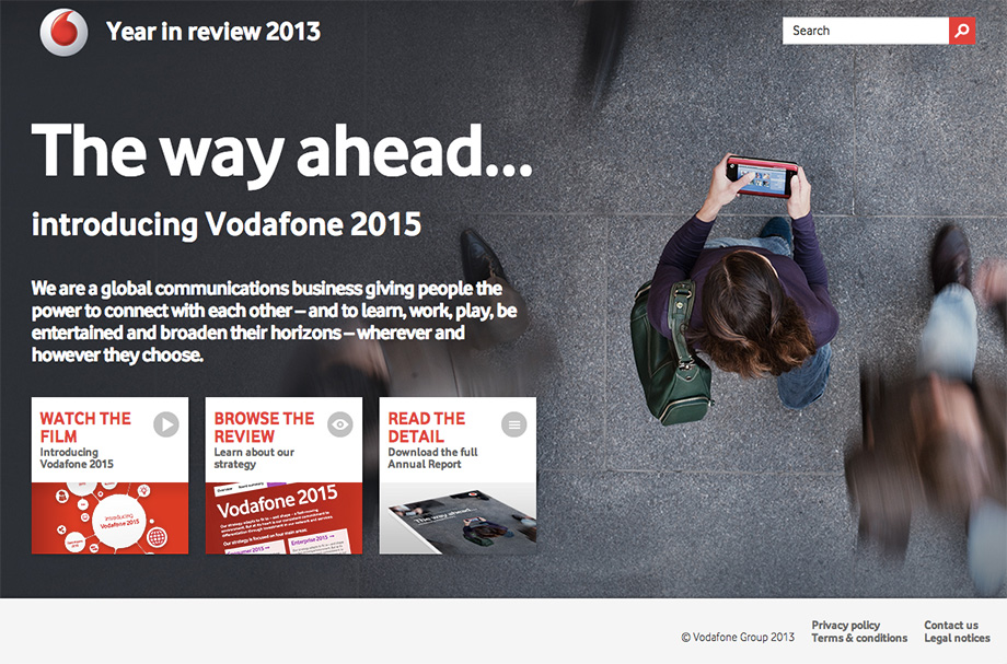 Vodafone Report 2013 homepage